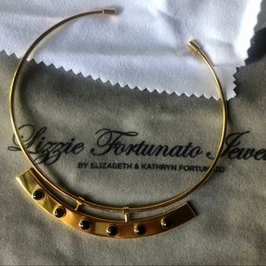 Lizzie Fortunato gold collar with black stones